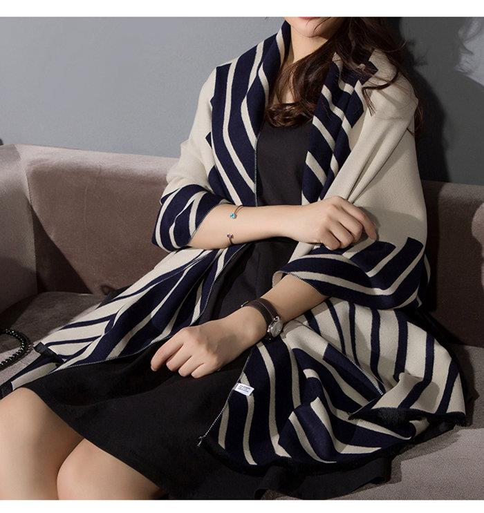 Scarf female Korean double sided stripe summer air conditioning room shawl thickening dual purpose autumn winter versatile office Cape