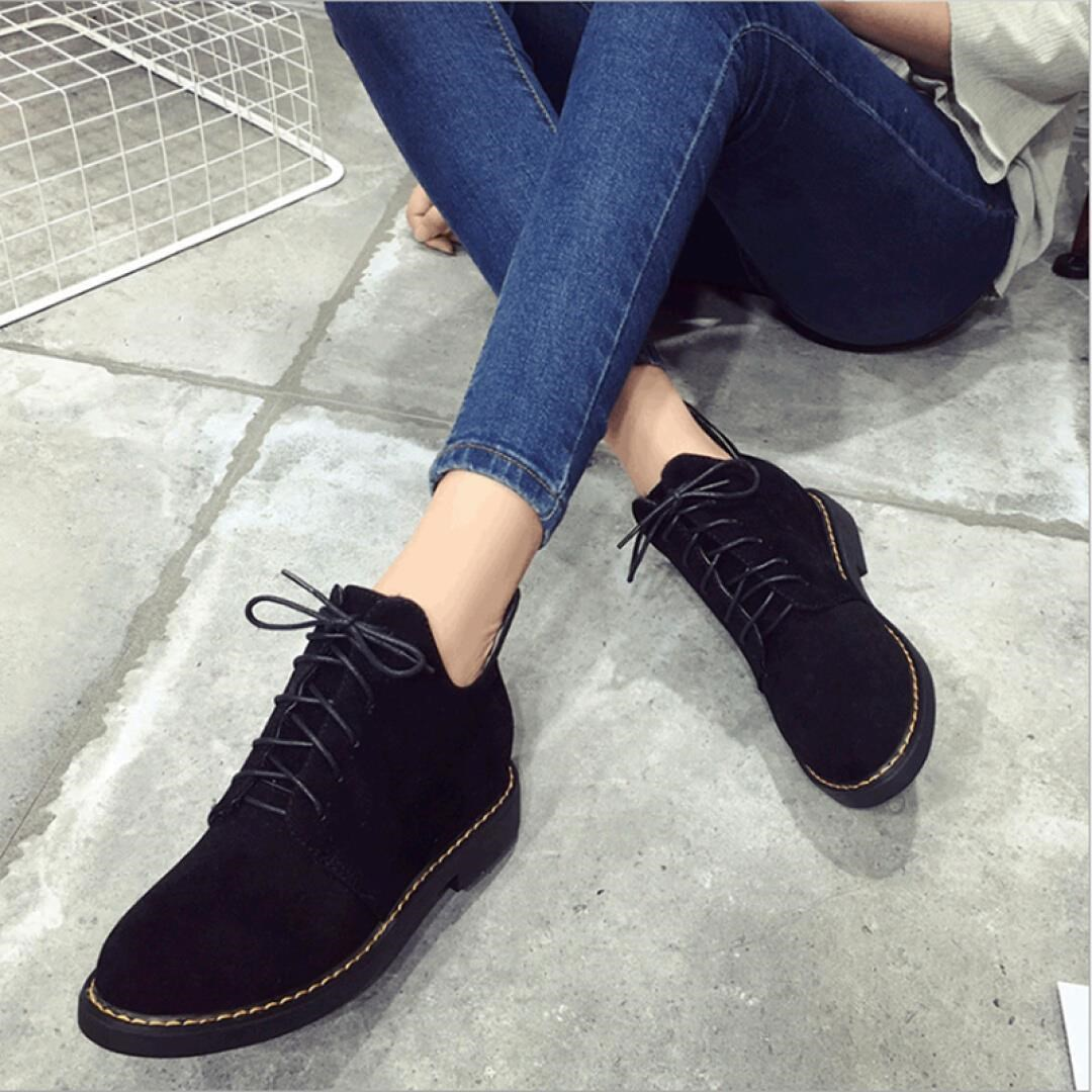 策邦 马丁靴女2017新款百搭韩版休闲鞋厚底机车复古高帮鞋英伦风