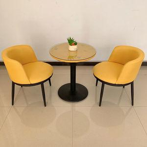咖啡洽谈桌椅组合接待简约室内家用休闲创意布艺小圆桌椅子三