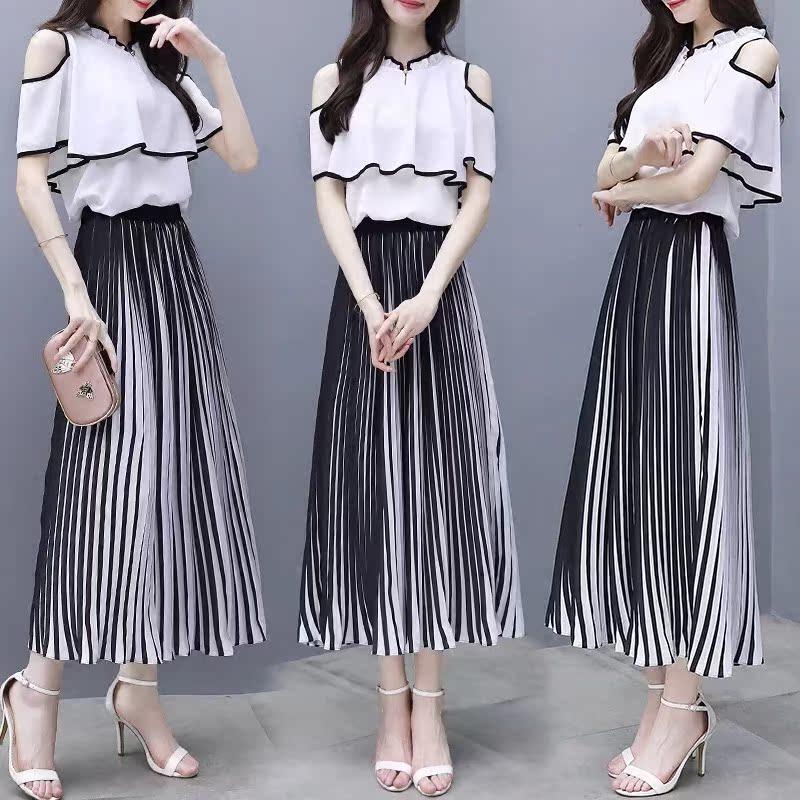 2018夏装新款港风两件套露肩雪纺半身长裙套装简约冷淡风连衣裙女