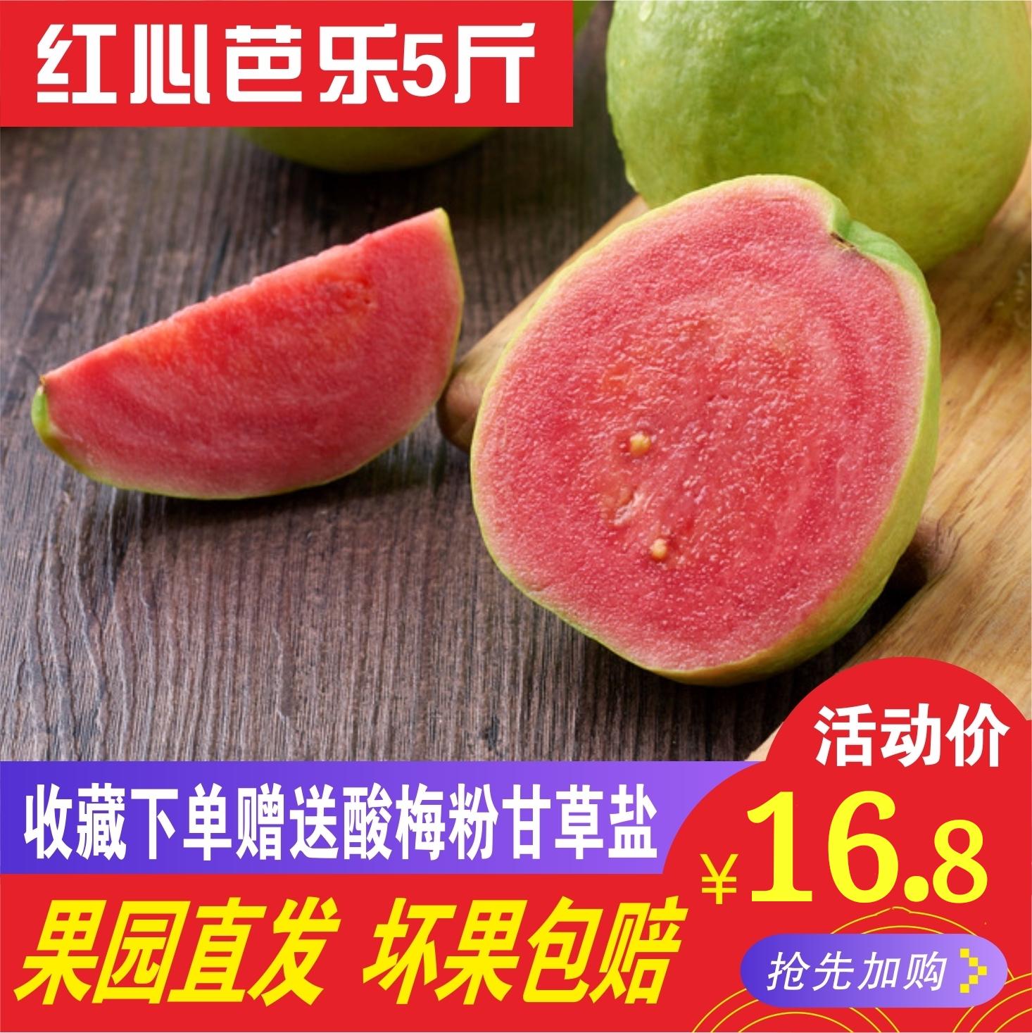 台湾红心番石榴新鲜水果特产胭脂红潘石榴5斤装现摘现发包邮