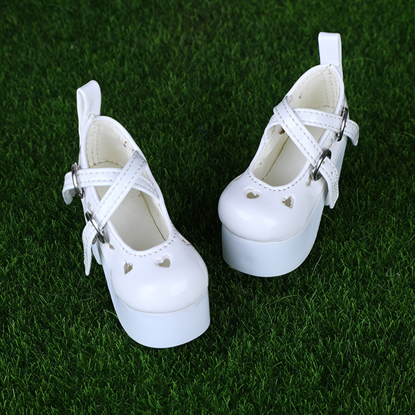 BJD / SD baby shoes 1 / 4 Baby hollow heart shape white thick bottom high heels support mass customization