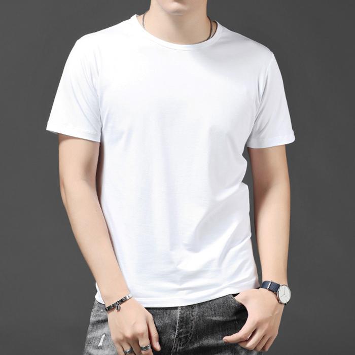 热销0件限时秒杀夏季短袖t恤男莫代尔棉纯色修身圆领薄款衣服男士纯白色打底衫815