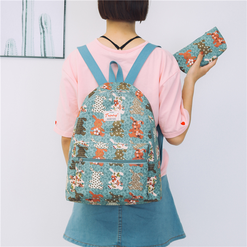 Backpack womens Korean version versatile Waterproof Canvas Backpack shopping travel printing small fresh schoolbag female student campus