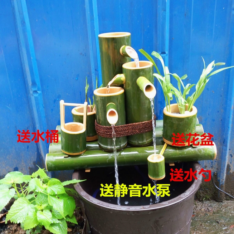 Бамбуковая вода бонсай камень корыта фонтан аквариум аэробная фильтрация вода особенности увлажнитель бамбук двойная вода теперь вырезать