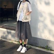 韩版时尚洋气工装马甲背心外套+半身裙套装2021新款夏季两件套女