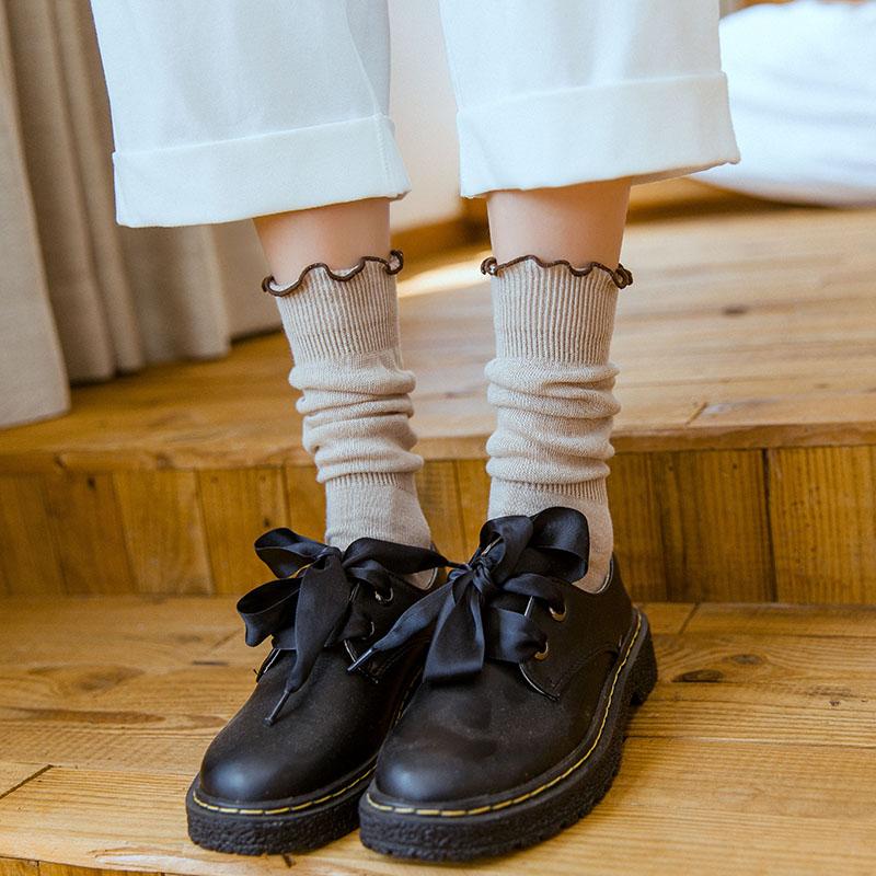 纯棉堆堆袜女秋季薄款纯棉中高筒袜日系木耳边复古百搭打底长袜潮