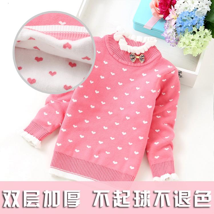 2017 новый зимой девочки утолщенный чистый хлопок свитер ребенок свитер водолазка двойная защита теплый линия рубашка