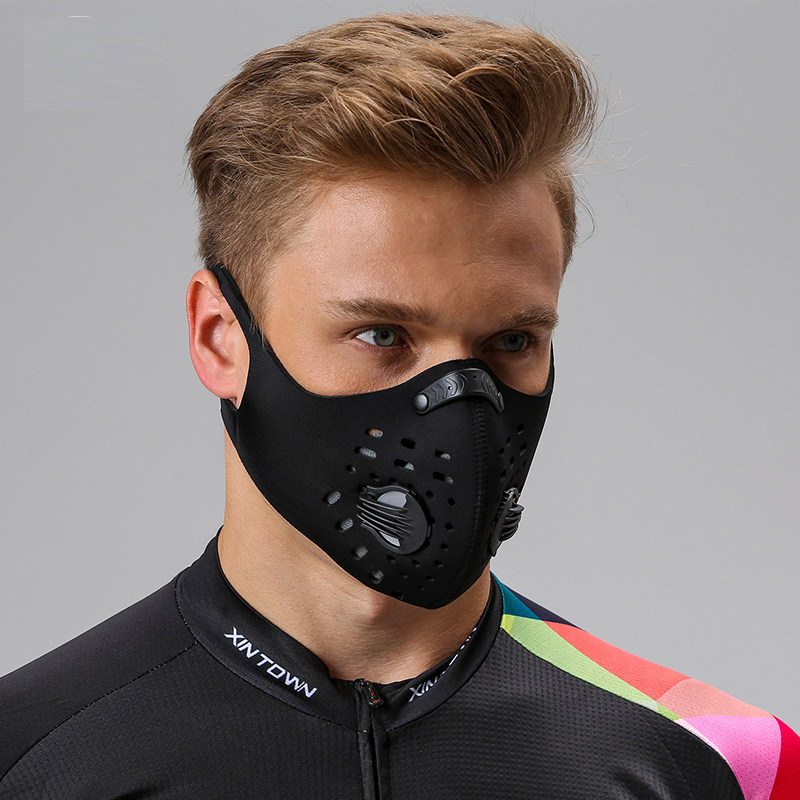 Anti dust smoke smoke anti haze black kn mask 95 mens fashion women personality activated carbon filter layer dust-proof and breathable