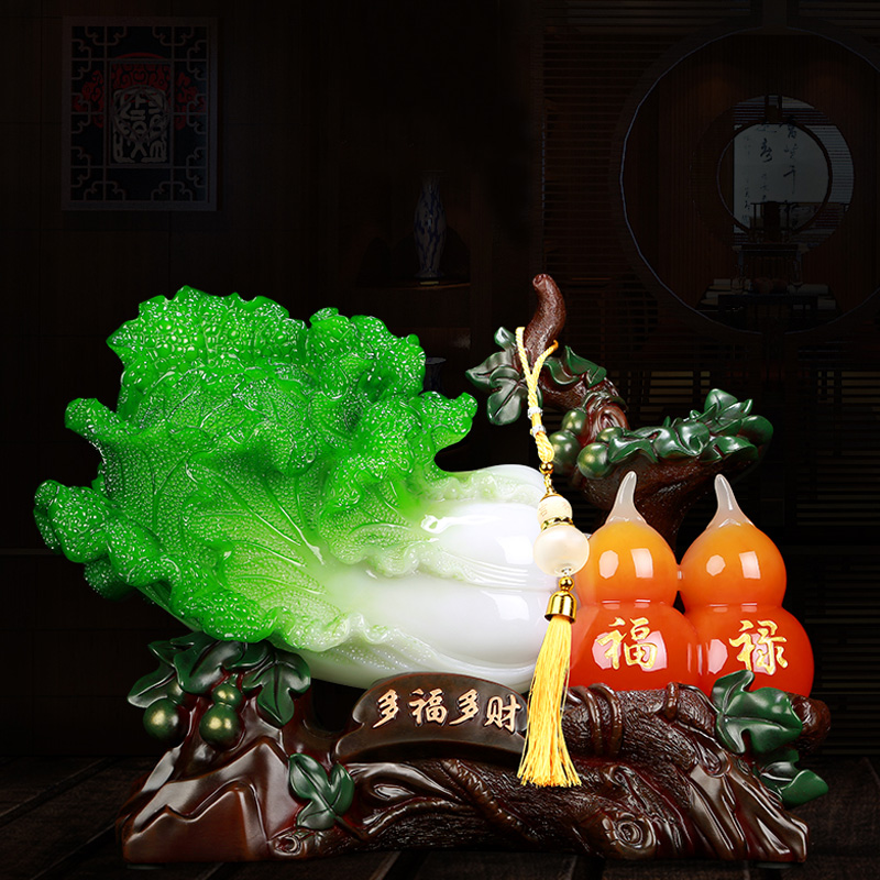 招财葫芦玉白菜摆件新中式家居装饰品客厅玄关装饰品乔迁开业礼品
