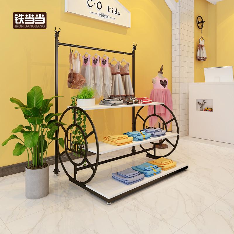 服装店流水台创意车轮多层展示台童装模特道具中岛架高低置物桌子包邮