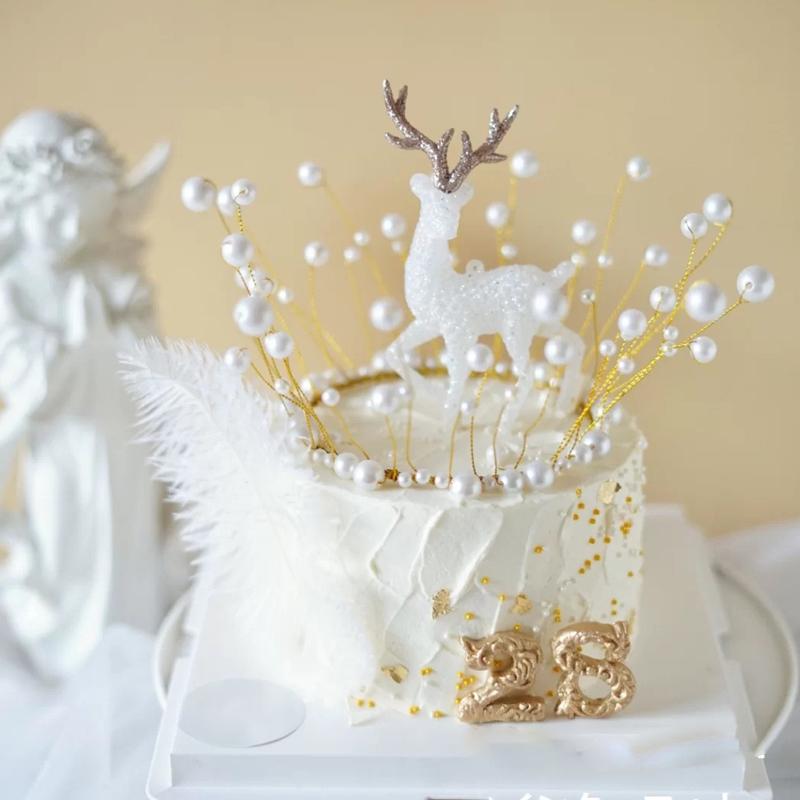 闪粉圣诞麋鹿蛋糕装饰摆件 圣诞节派对甜品台布置烘焙配件用品