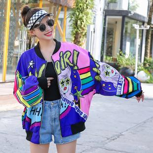 泰国潮牌女装2019新款潮卡通印花立领棒球服宽松洋气夹克外套女