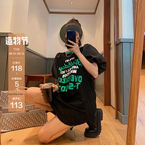 泡泡袖连衣裙女夏季2020新款宽松字母短袖T恤裙收腰显瘦气质短裙