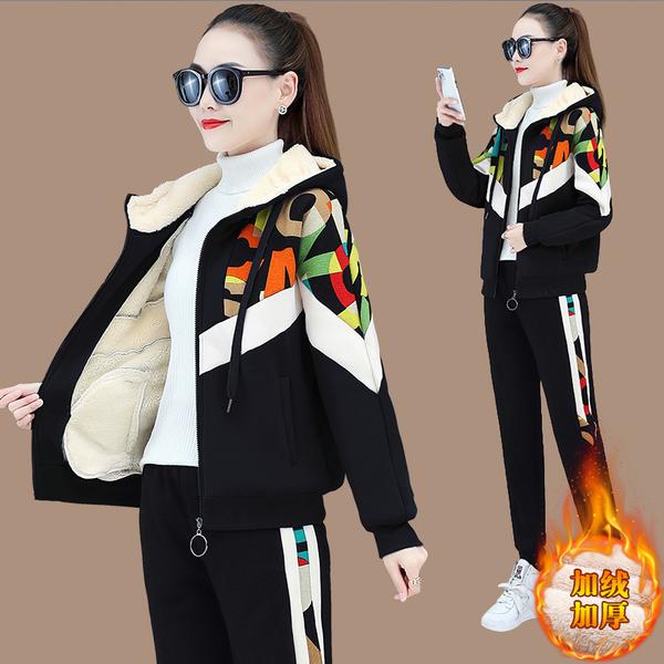 TS48320#加绒加厚休闲运动服套装女秋冬新款韩版时尚宽松卫衣外套两件套...