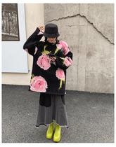 年秋冬慵懒风复古提花中长款套头针织上衣2020毛衣女宽松外穿MONA