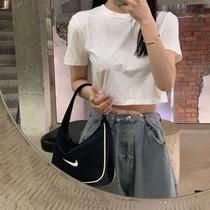 ins超火白色短袖t恤女夏高腰韩版潮修身显瘦露肚脐小心机短款上衣