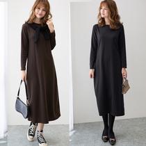 秋冬季新款韩版宽松打底裙女长袖内搭长款连衣裙黑色过膝长裙大码