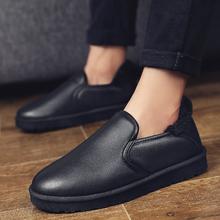 低帮一脚蹬懒人雪地靴防滑加厚防水男鞋 冬季 加绒保暖棉鞋 黑色 男士