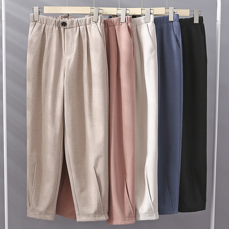 Woollen pants childrens winter straight tube loose 2019 new Korean version students loose and versatile wide leg pants casual pants trend