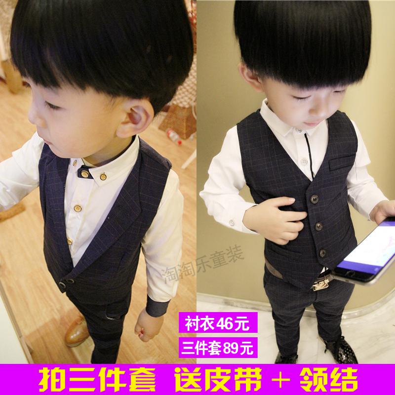 Мальчиков джентльмен жилет рубашка три образца 2 осеняя модель 3 ребенок англия небольшой костюм 4 ребенок платья установите 5 лет волна