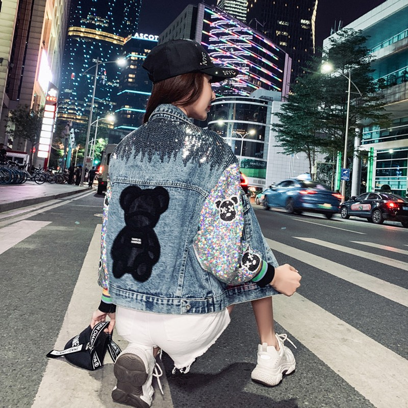 European station autumn and winter new Sequin stitched Denim Jacket Womens Korean version fashion loose heavy industry womens short jacket