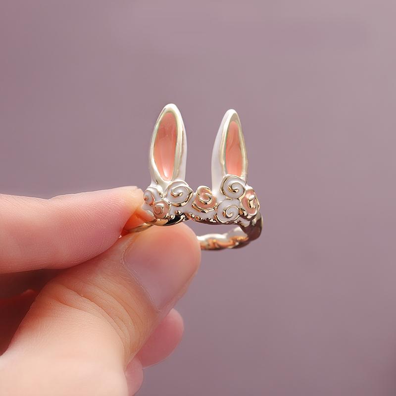 日系轻奢兔耳朵戒指女开口小众设计简约可爱少女心食指环时尚个姓