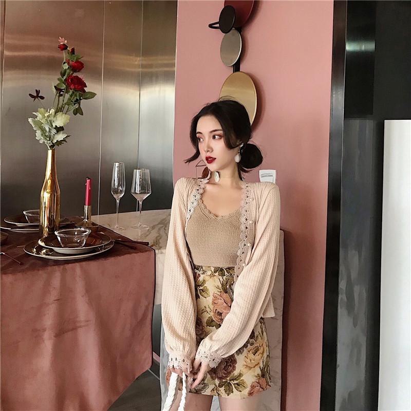 实拍实价控价+5针织吊带无袖V领背心+灯笼袖短款开衫+花纹半身裙