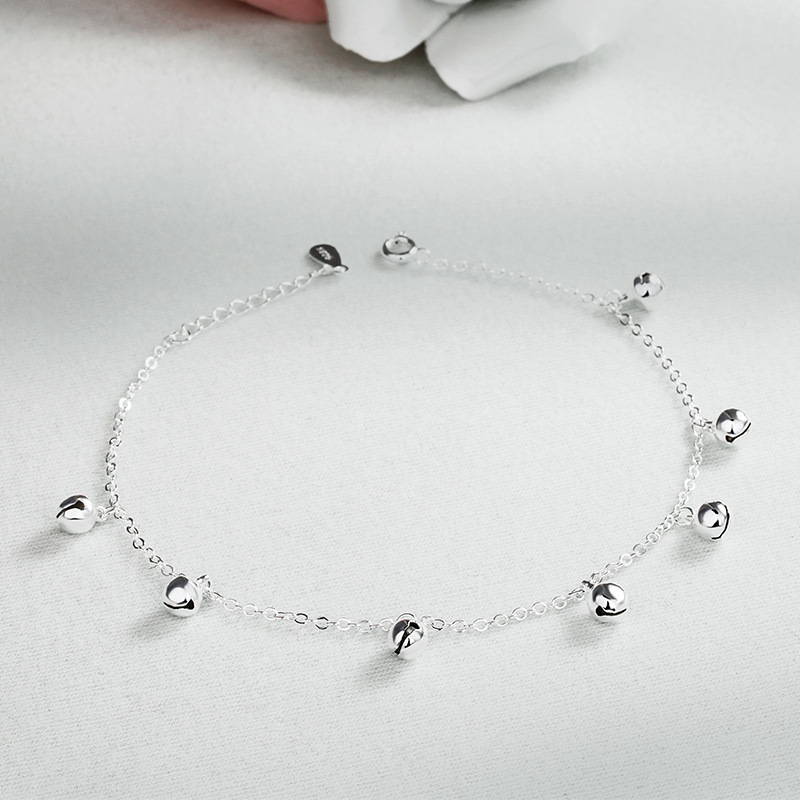 2018 new Mori retro sound bell Anklet pure silver female Korean best friend student simple sexy silver jewelry