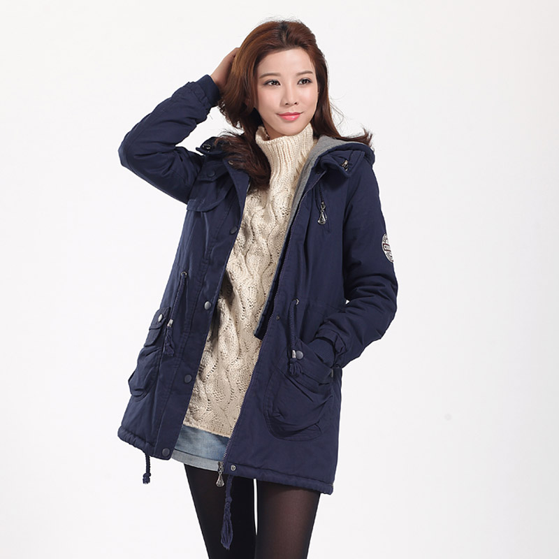 Winter waist cotton padded clothes womens self-cultivation medium and long work clothes cotton padded jacket coat with plush thickened warm hooded cotton padded jacket