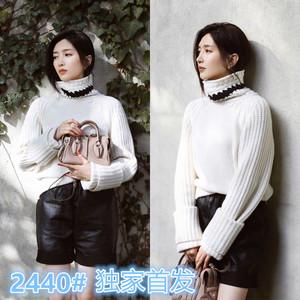 2440#明星江疏影同款白色粗線高領套頭毛衣針織衫皮短褲洋氣套裝