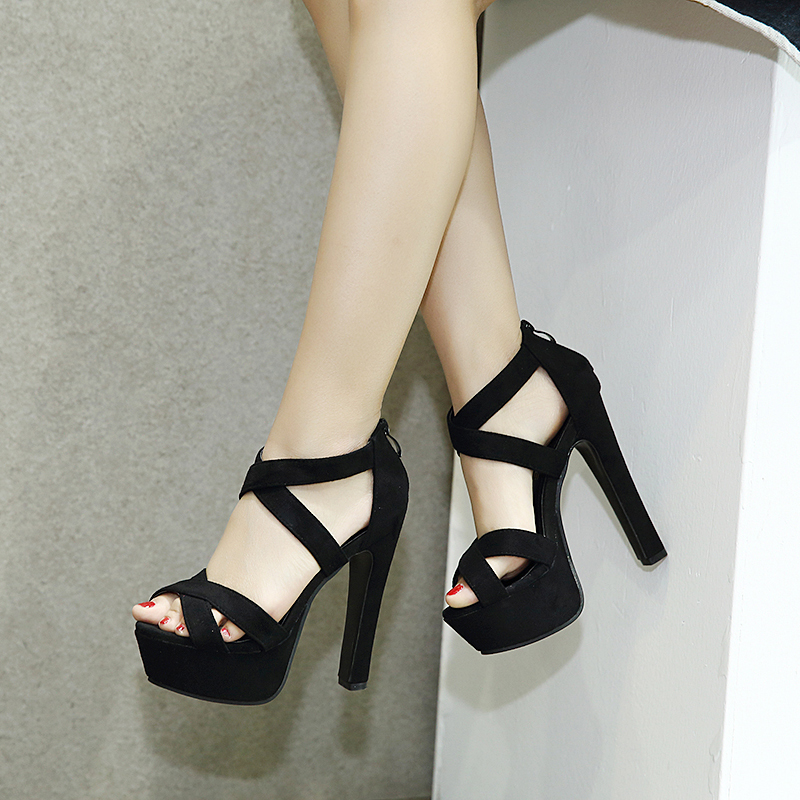 15舞台走秀16cm超高跟粗跟绑带单鞋