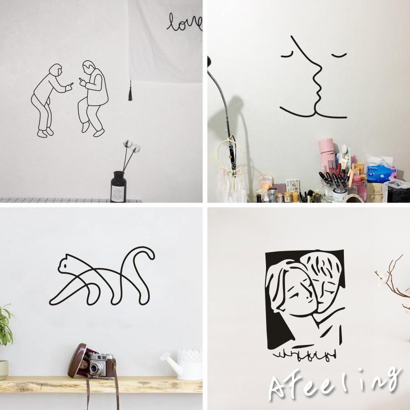 尬舞网红北欧风搞怪社会人拍照抽象少女卧室背景自粘墙贴纸ins