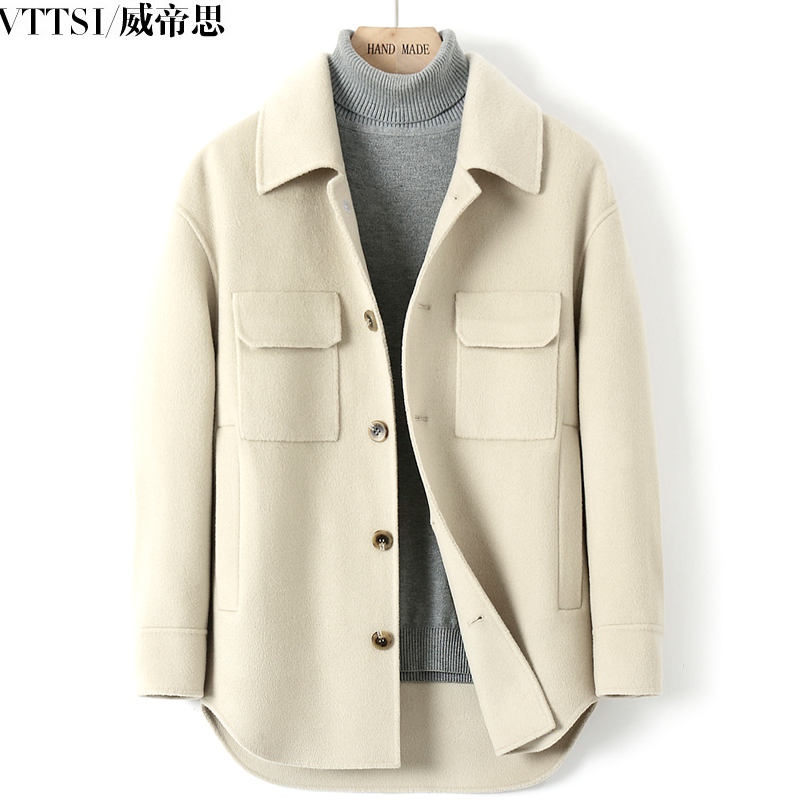 Double-sided woolen wool coat thickened 2020 autumn and winter new short no cashmere casual woolen coat men's clothing