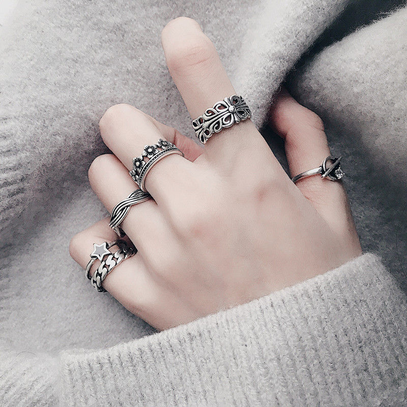 Japanese and Korean Chaozhou peoples Retro 925 Sterling Silver Ring womens old cross index finger opening adjustable ring small tail ring