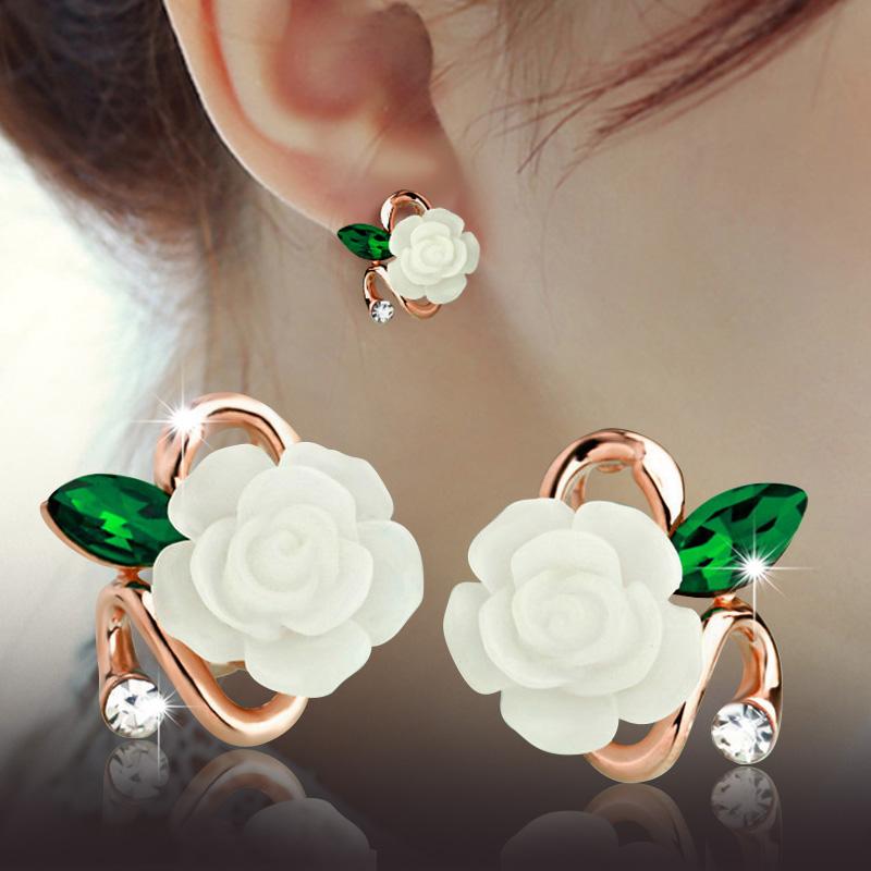 韩版时尚珍珠耳钉女款玫瑰花镶钻贝壳珠耳环可爱精美耳环饰品包邮
