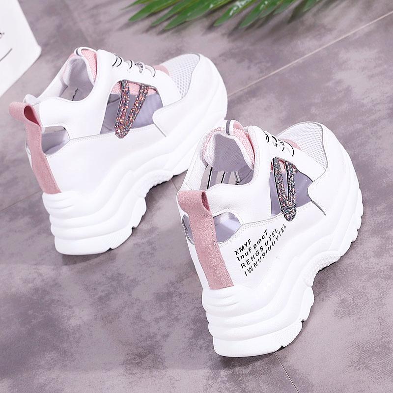 12月07日最新优惠小白鞋女透气内增高网鞋夏季2019新款网面老爹休闲镂空跑步运动鞋