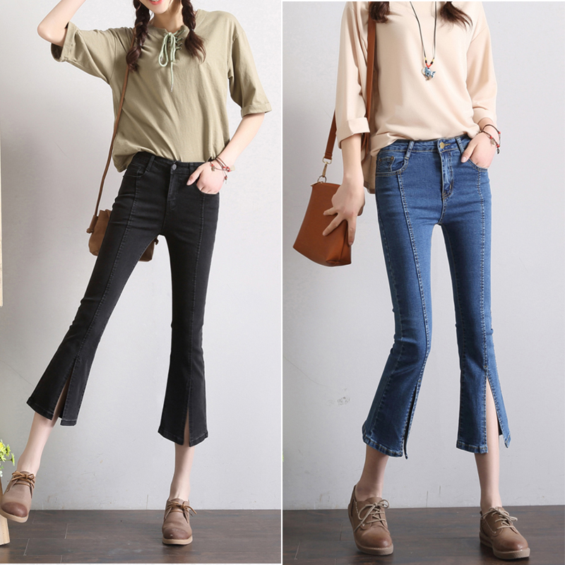 Autumn South Korea 7-point split Black Slim stretch 7-trumpet 9-point jeans children 8:8