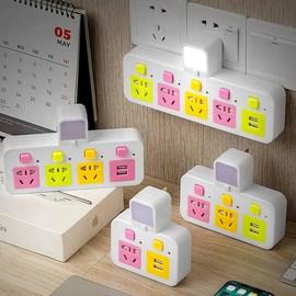 多功能插座转换器插头带usb插板排插小夜灯无线家用面板多孔插排图片