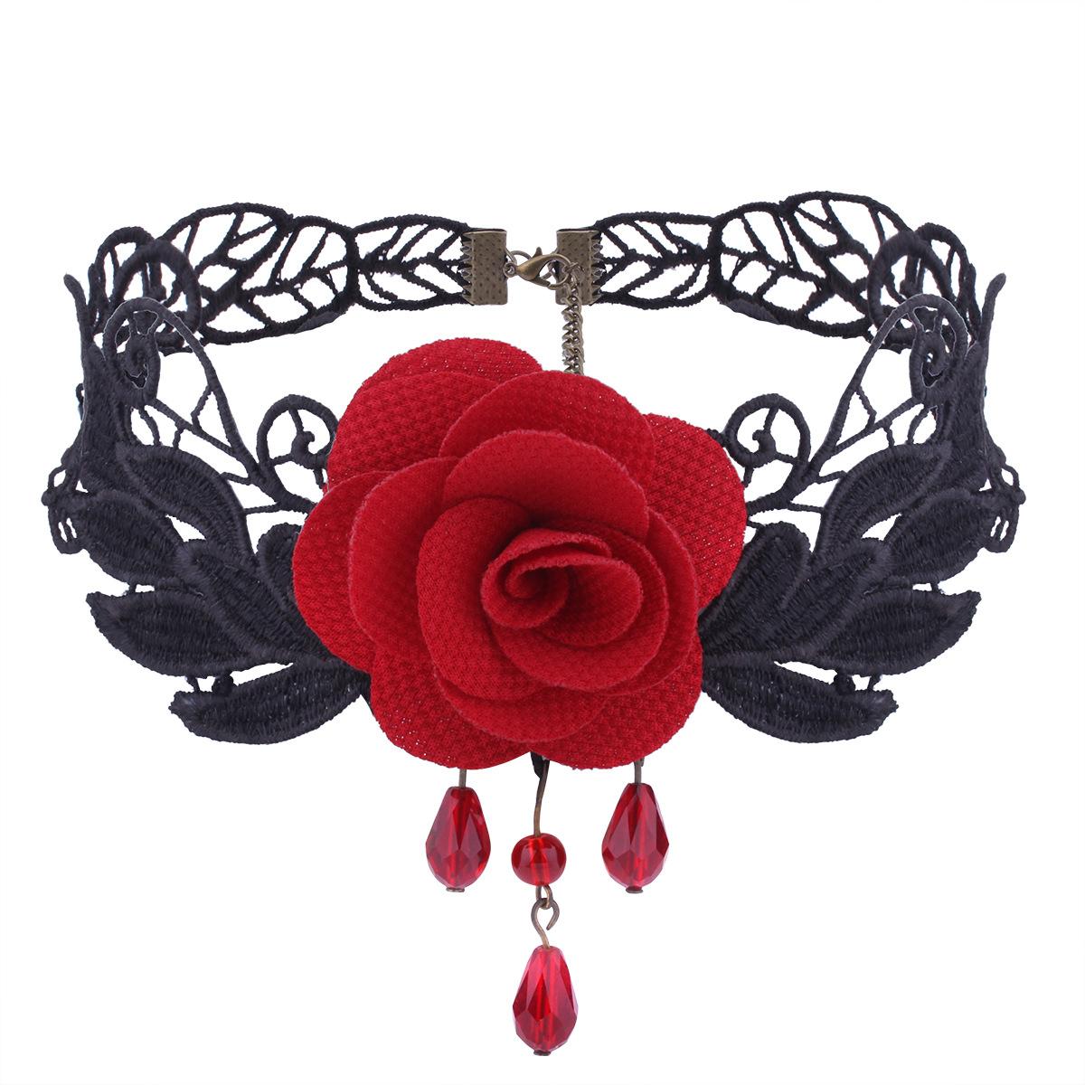 哥特式宫廷复古风蕾丝镂空花朵项链玫瑰花短款束颈锁骨链女生气质