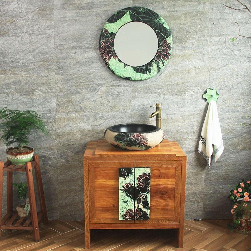 11月06日最新优惠现代中式浴室柜组合落地 古典榆木卫浴柜橡木洗漱台洗手脸盆柜
