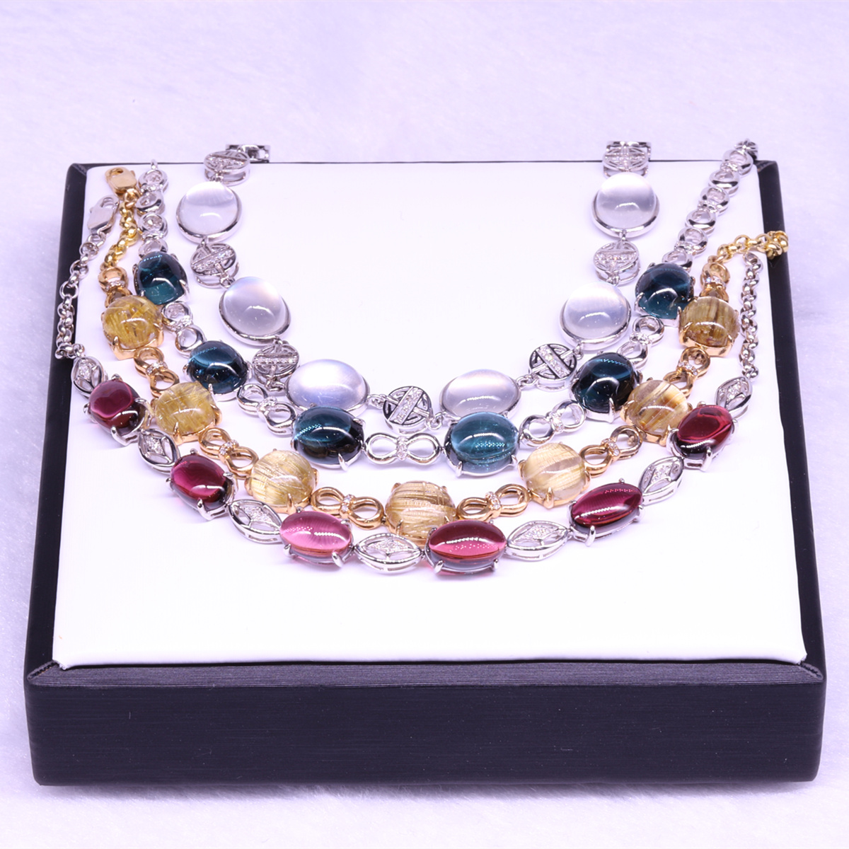 Fengshi natural red and blue tourmaline, titanium crystal, moonlight stone, color treasure, inlay, bracelet, crystal jade, head ornament, female