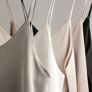V领丝绸缎面黑色打底吊带背心女无袖内搭打底衫外穿性感上衣女夏