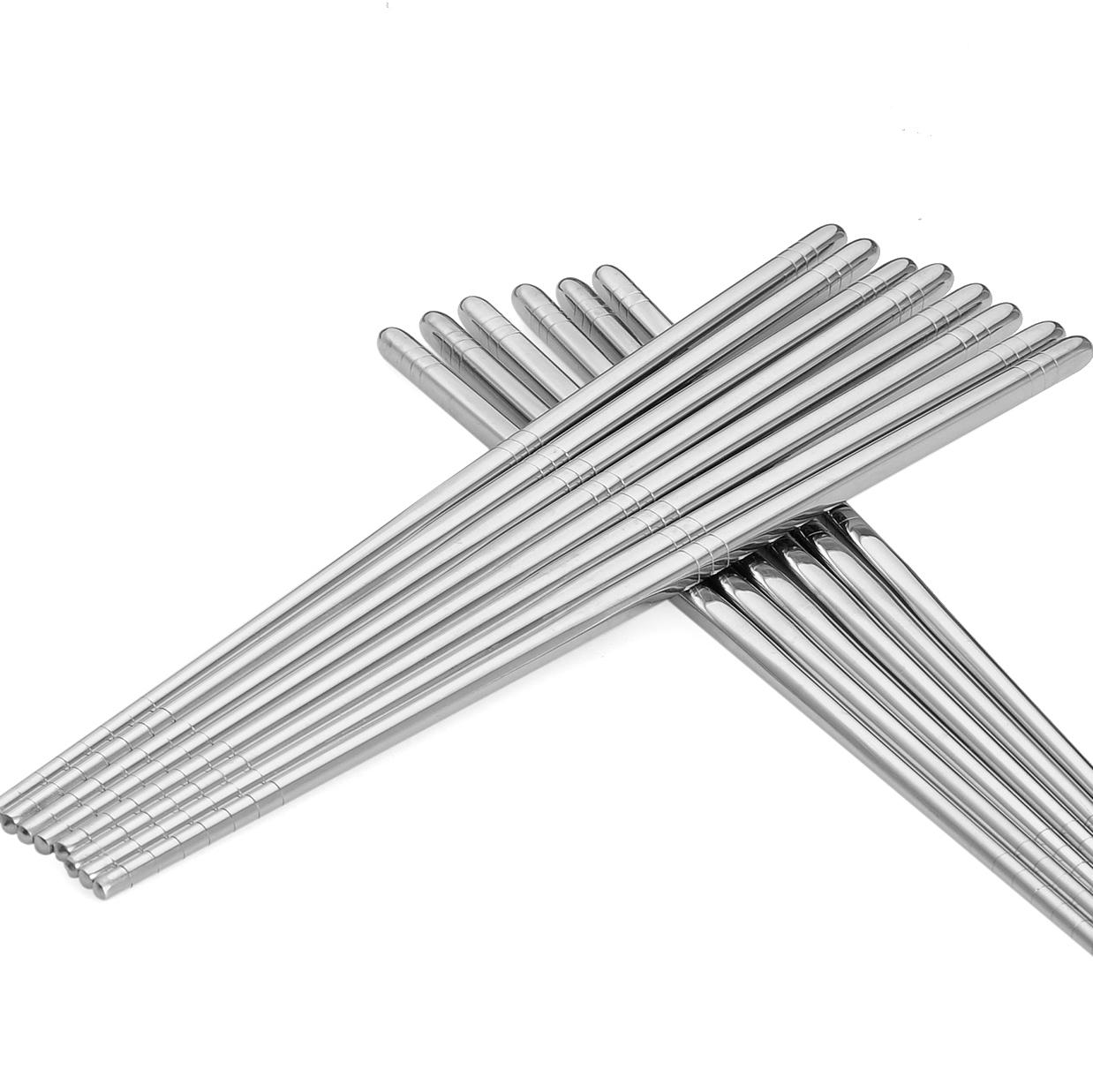 onlycook 304不鏽鋼筷 家用10雙裝筷子 防滑方形筷餐具金屬筷套裝