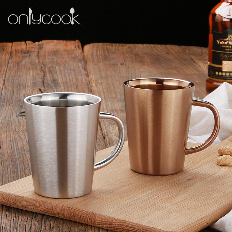 欧式啤酒杯304不锈钢双层隔热水杯 创意咖啡杯冷饮果汁杯防摔杯子