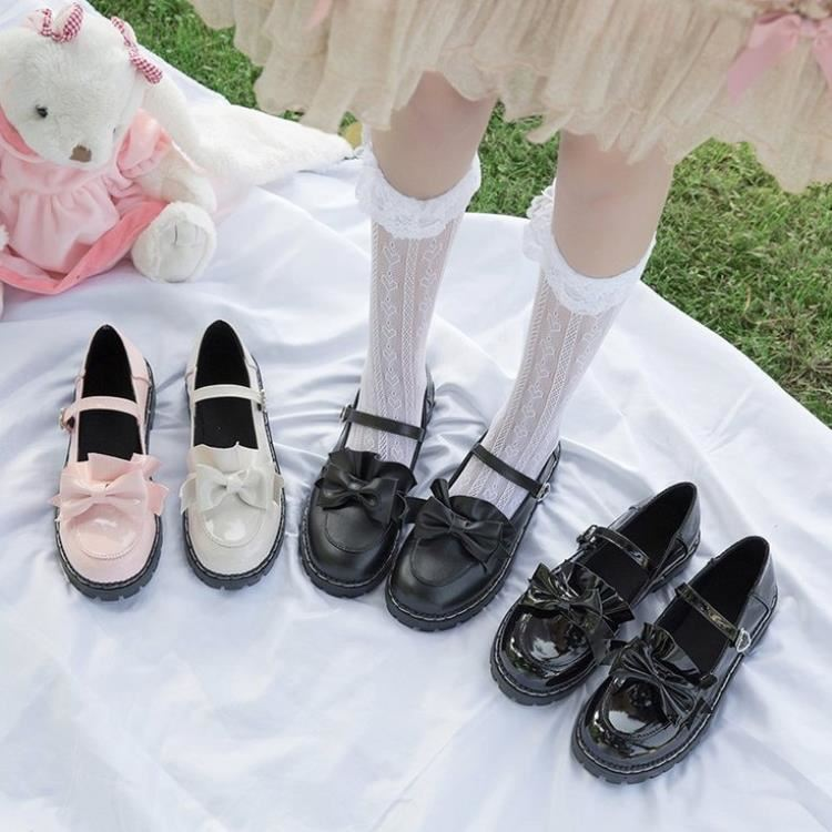 Japanese Lolita thick soled womens shoes lovely bow round head baby shoes original flat soled soft girls shoes
