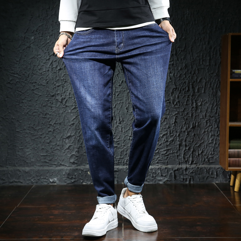 Mens super high elastic trend of mens casual pants with slim legs and thick long pants