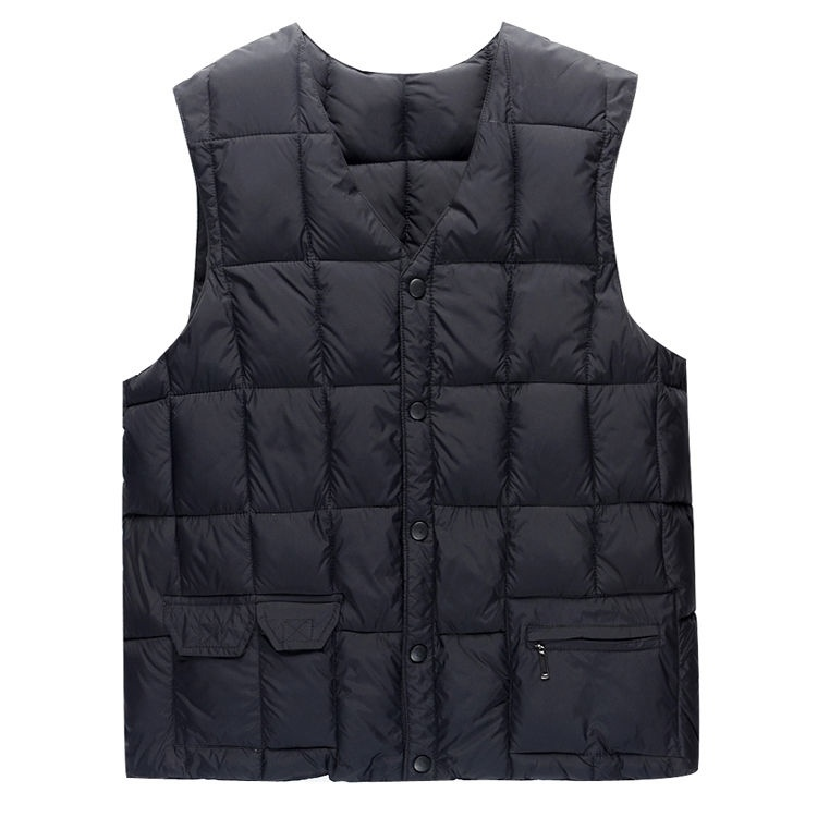 Lined fathers Vest autumn winter casual vest office down cotton mens Vest middle aged and elderly trend increase size