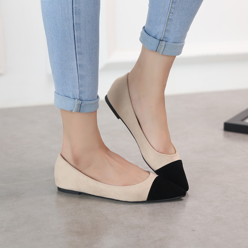 Autumn new Korean version of small fragrance pointed single shoes shallow Ballet Flat Shoes color matching anti slip sweet soft top womens shoes