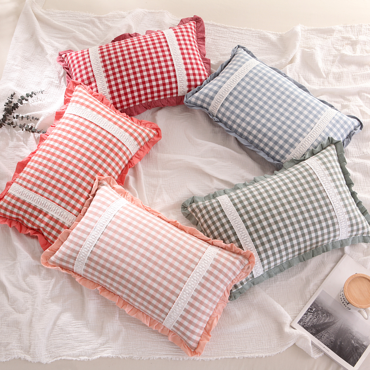 全棉韩式格子荞麦壳枕头小孩子儿童成人学生荞麦皮枕芯护颈午睡枕
